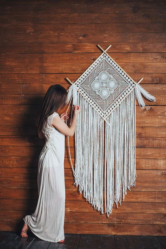 If you love boho decor, our collection of beautiful dreamcatchers will please your eye. This giant dream catcher is a stunning art piece that will make any space unforgettable. This bohemian tapestry is an amazing choice if you are looking for a Christmas gift for someone special.